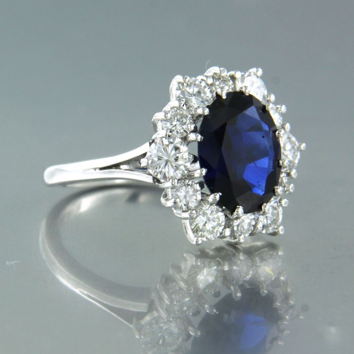 18 kt. White gold - Ring - 2.30 ct Sapphire - Diamond