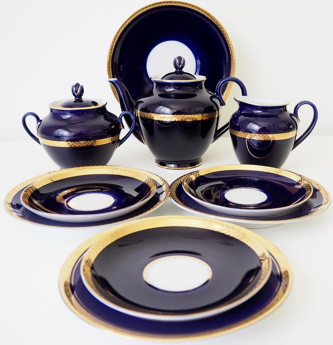 "Lomonosov Imperial Porcelain Factory  - Cobalt blue ""Golden frieze"" Tea set  - Gold, Porcelain"