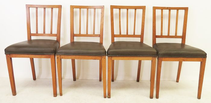Dining room chair (4) - Iepenhout - Approx. 1840