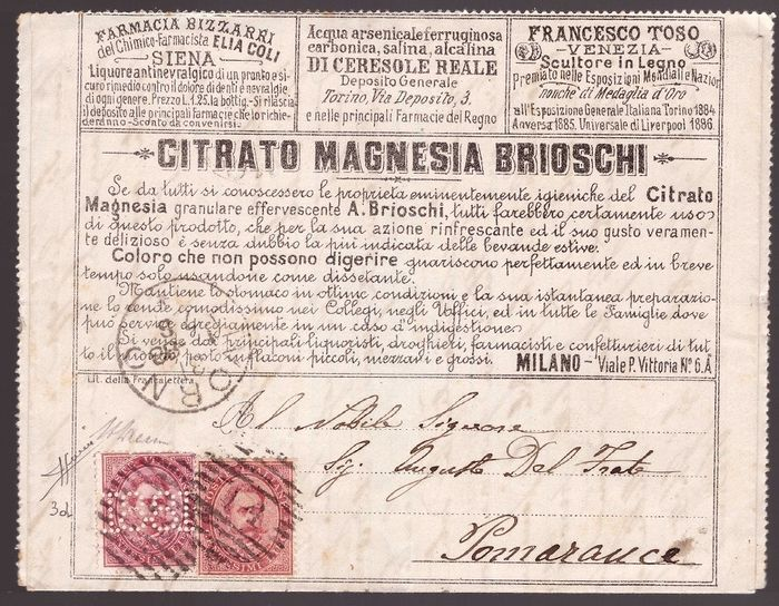 """Italien Königreich 1888 - Francalettere cents """"18-81"""" on advertising letter with imperforate twin value - Sassone NN. 38, 3d"""
