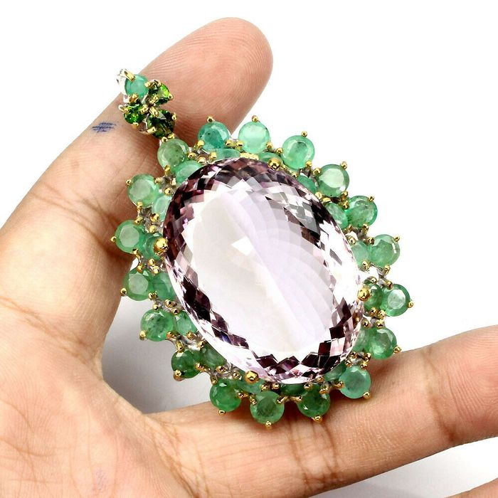Ametrine Brooch During February birthstone faceted oval - 33×24×5 mm - 30.24 g - (1)