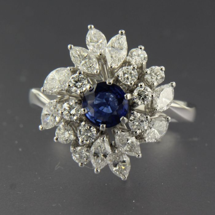 18 kt. White gold - Ring - 1.85 ct Diamond - Sapphire