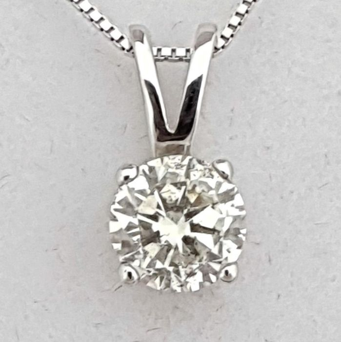 14 kt. White gold - Necklace with pendant - Clarity enhanced 0.73 ct Diamond - D/SI - NO RESERVE PRICE
