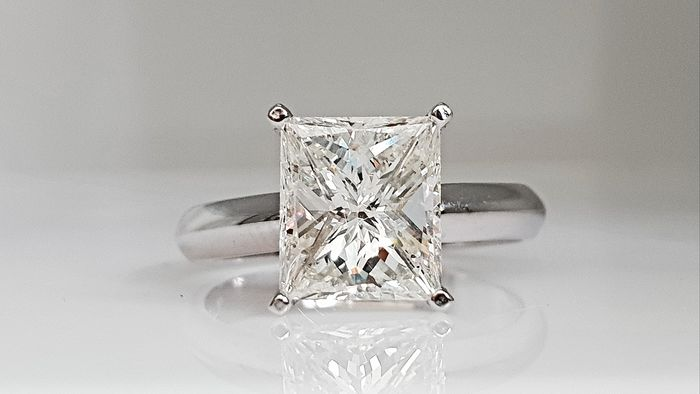 14 kt. White gold - Ring - Clarity enhanced 3.02 ct Diamond