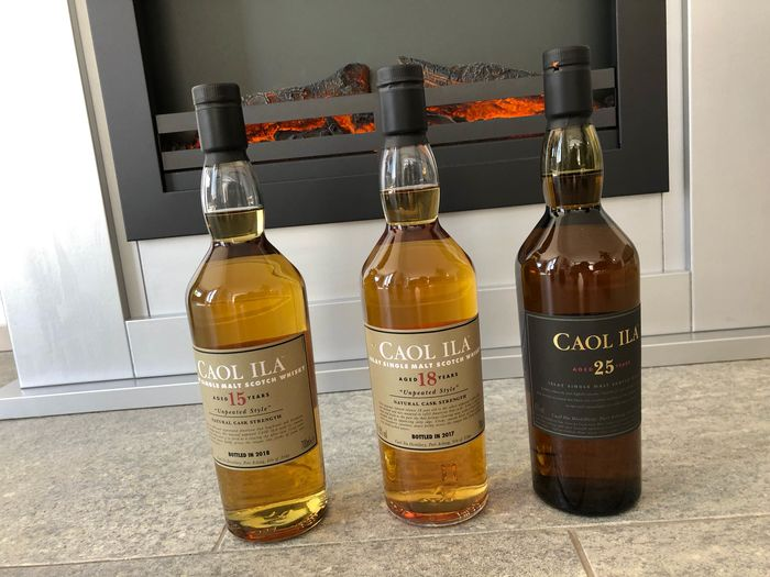 Caol Ila 15 years old Unpeated, 18 years old Unpeated & 25 years old - 70cl - 3 bottles