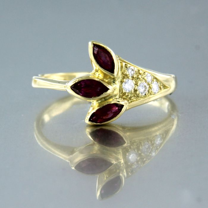 18 kt. Yellow gold - Ring - 0.12 ct Diamond - Ruby