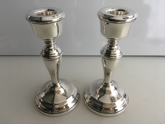 Pair of Sterling silver candle holders  (2) - .925 silver - U.K. - 1980