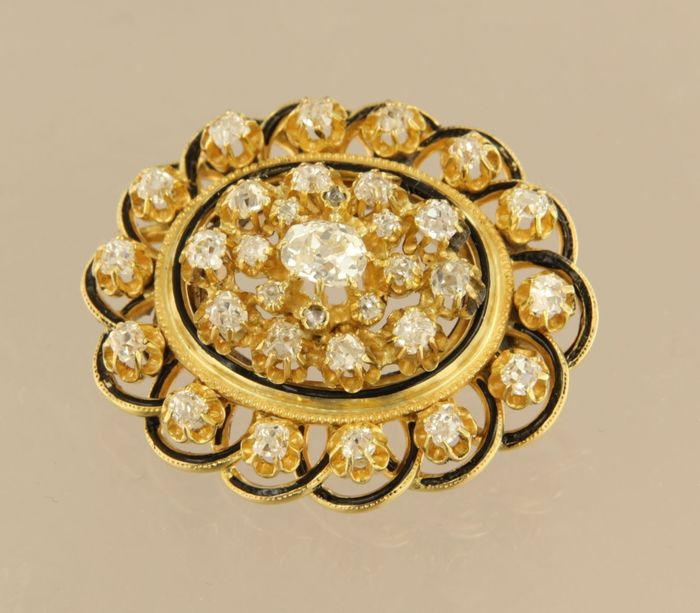 14 kt. Yellow gold - Brooch - 2.00 ct Diamond