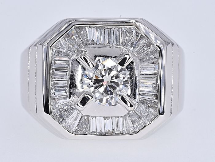 18 carats Or blanc - Bague - 2.56 ct Diamant