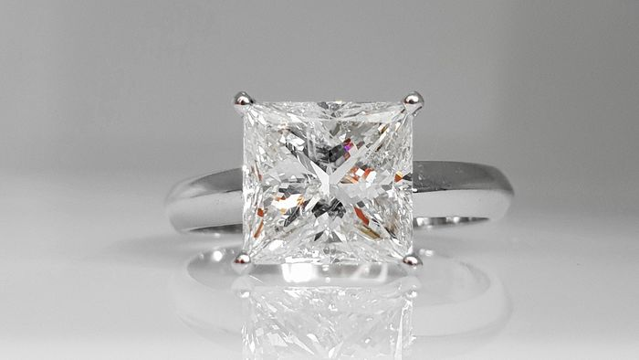 14 kt. White gold - Ring - Clarity enhanced 3.01 ct Diamond