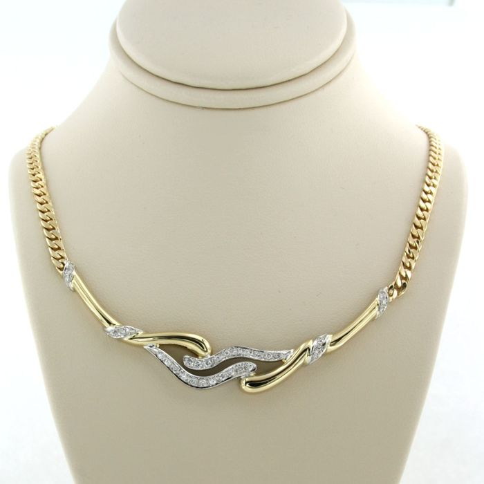 18 kt. White gold, Yellow gold - Necklace - 0.33 ct Diamond