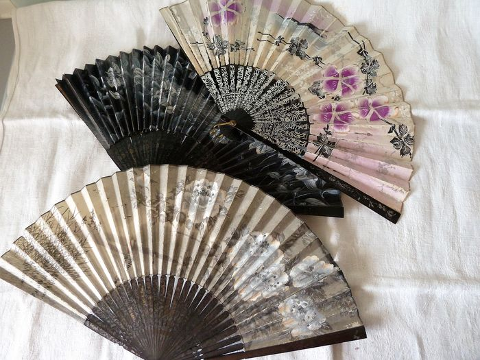 Japanese fans in handmade wallpaper early twentieth (3) - bamboo cardboard tissue paper