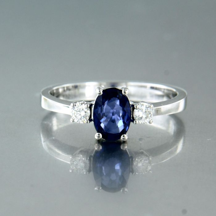 18 kt. White gold - Ring - 0.85 ct Sapphire - Diamond
