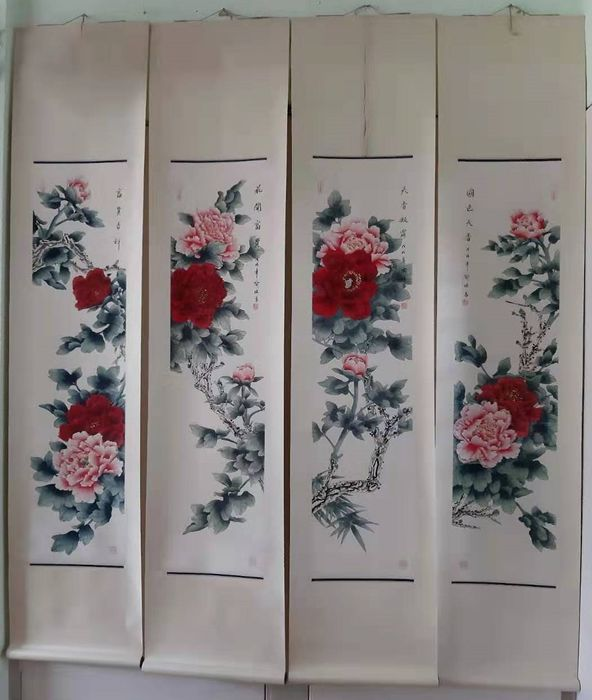 Ink painting - Chinese scroll painting on paper -  A set four-screen四条屏《俞继高-牡丹》in style of Yu JiGao - China - 21st century