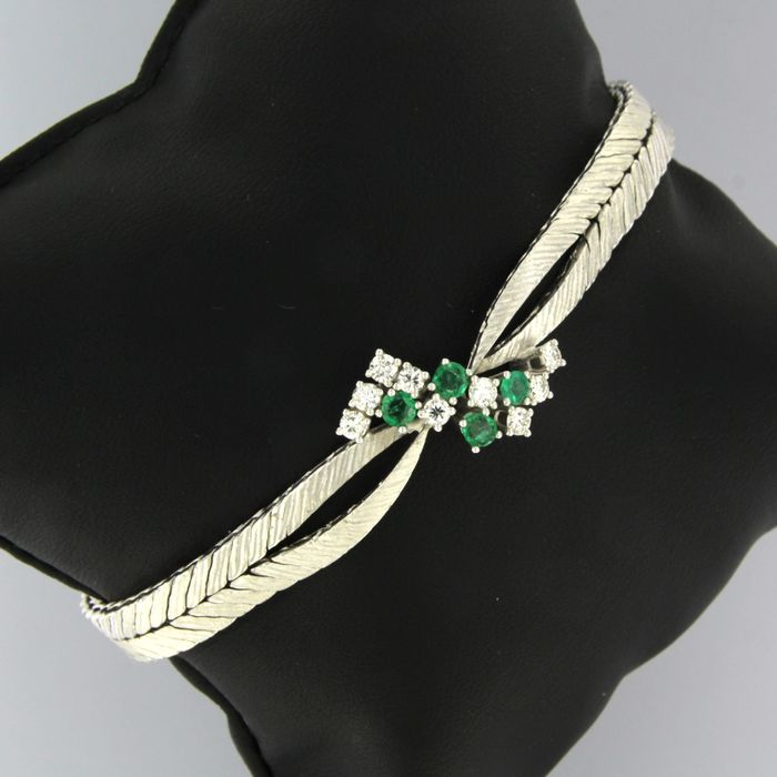 18 kt. White gold - Bracelet - 0.40 ct Emerald - Diamond