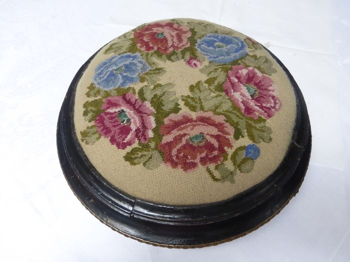 Victorian footstool, Victorian footrest with embroidered upholstery.