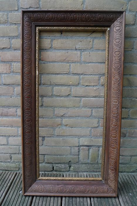 Late 19th century Italian carved frame - Neoclassical - Gesneden Notenhout, verguld Gresso - Late 19th century