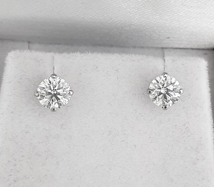 14 kt. White gold - Earrings - Clarity enhanced 1.23 ct Diamond