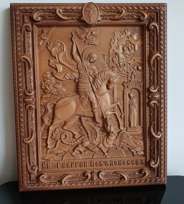 Icon,  Saint George, Russian carved  - Byzantine - wood beech
