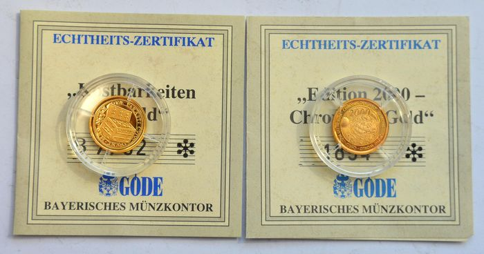 Europe - Lot of 2 Gold Medals 1999/2000 with certificates  - Gold