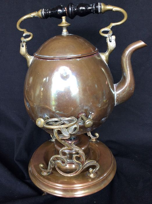 19th century copper teapot with burner (1) - Red copper