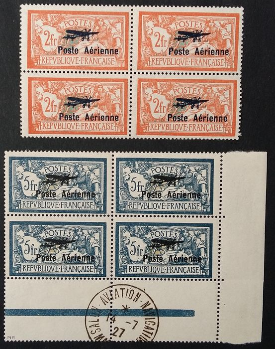 France 1927 - First international show in Paris, the 2 stamps in blocks of 4 - Yvert Poste Aérienne 1 et 2