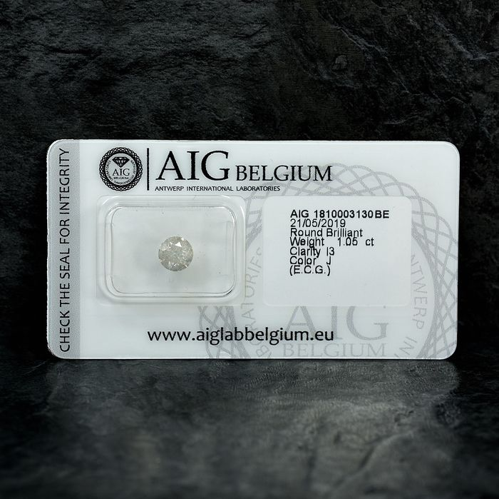 Diamond - 1.05 ct - Brilliant - J - I3 - NO RESERVE PRICE