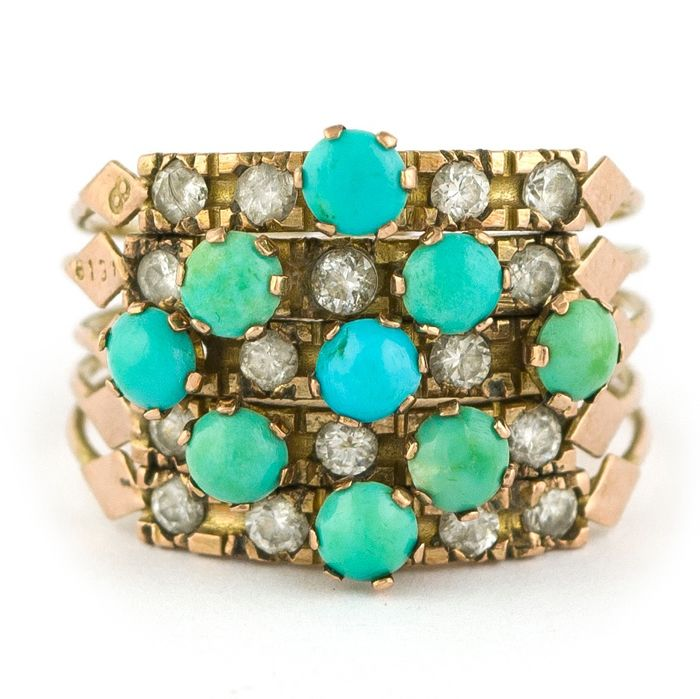 Antique - 9 Karat  Yellow gold - Ring Turquoise