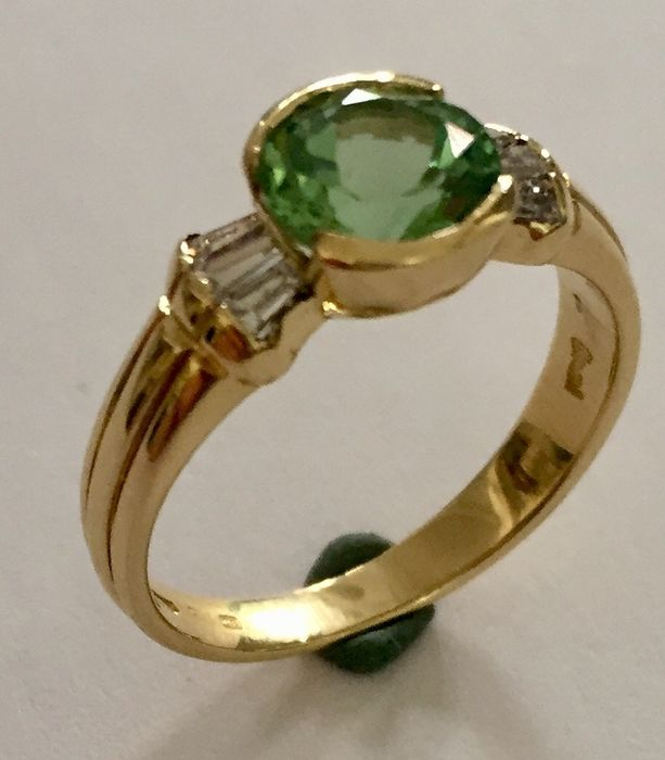 Damiani - 18 carats Or jaune - Bague - 1.00 ct Tourmaline - Diamants