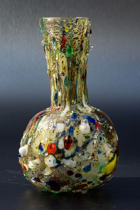 Vase with murrine and colourful meltings - Height 14 cm - Glass