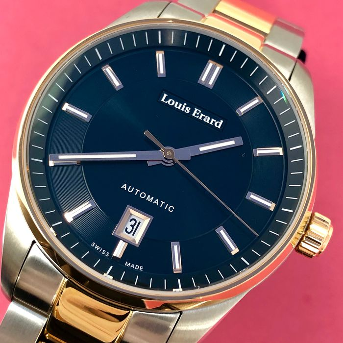 Louis Erard - Automatic Heritage Collection 2 Tone Rose Gold Black Dial Swiss Made  - 69101AB72.BMA21 - Men - Brand New