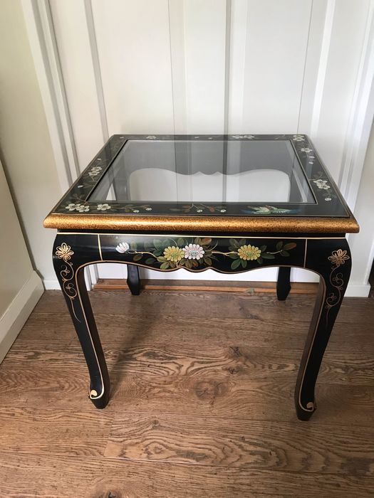 Side table, lounge, coffee table - glass and wood