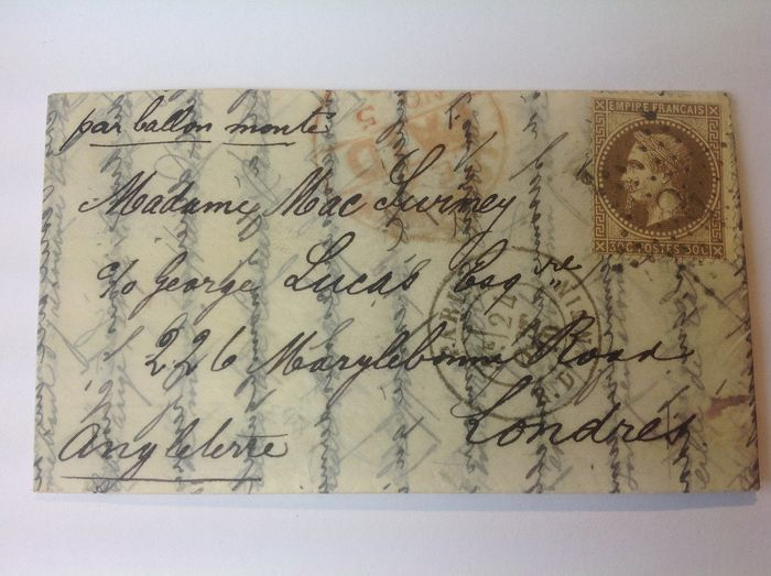 France 1870 - ''Le Vauban''  balloon mail from rue d'Antin, Paris bound for London, signed and with Calves