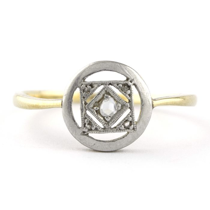 Antique - 18 kt. White gold, Yellow gold - Ring Diamond