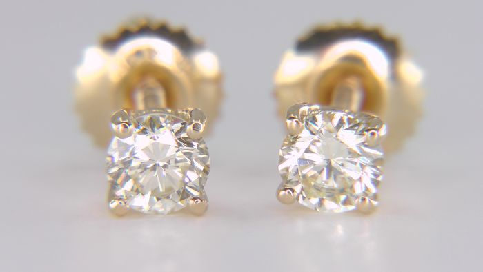 14 kt. Yellow gold - Earrings - Clarity enhanced 0.62 ct Diamond