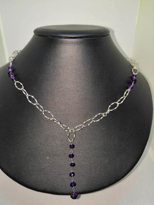 18 kt. Gold, White gold - Necklace Amethyst - Amethysts