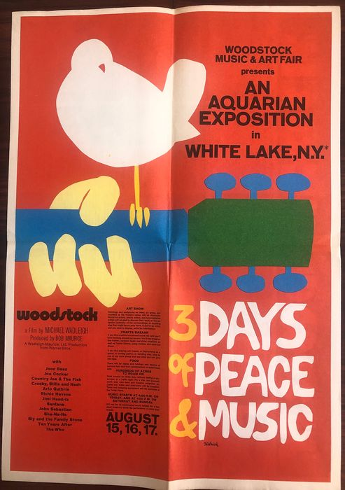 Various Artists/Bands in 1960's - Woodstock ... from Warner Bros. - Movie Publication plus Poster and Press Photo - 1969/1970
