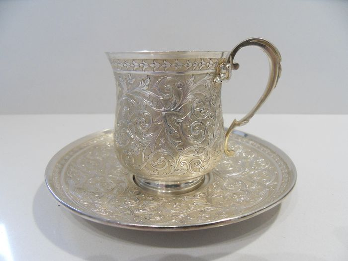 Beautiful cup and under cup (1) - .950 silver - Alfred Hector - France - Late 19th century