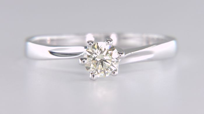 14 kt. White gold - Ring - Clarity enhanced 0.37 ct Diamond