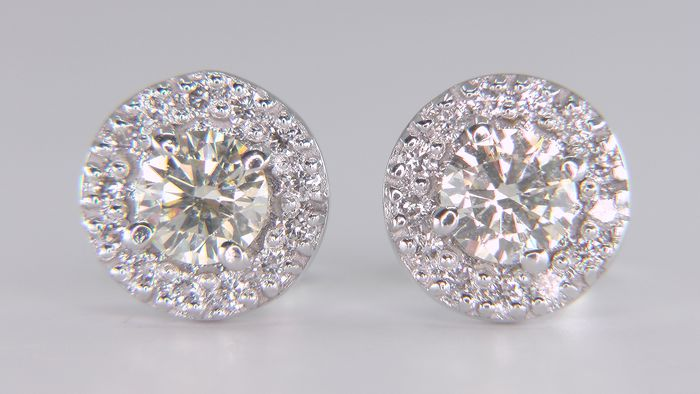 14 kt. White gold - Earrings - Clarity enhanced 1.01 ct Diamond