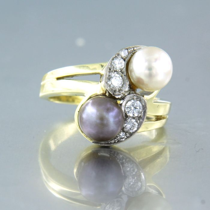 14 kt. White gold, Yellow gold - Ring - 0.18 ct Diamond - Pearl