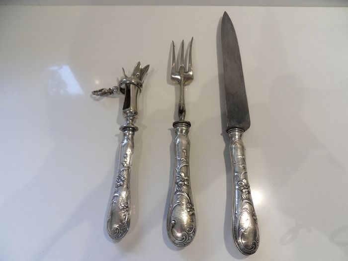 Cutting set (3) - .950 silver - France - mid 19th century