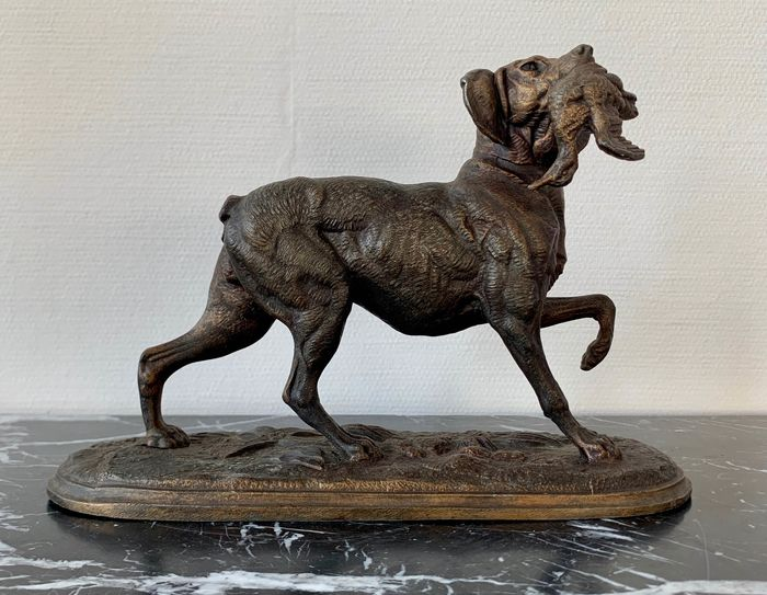 Dog, Sculpture - Zamac - Early 20th century