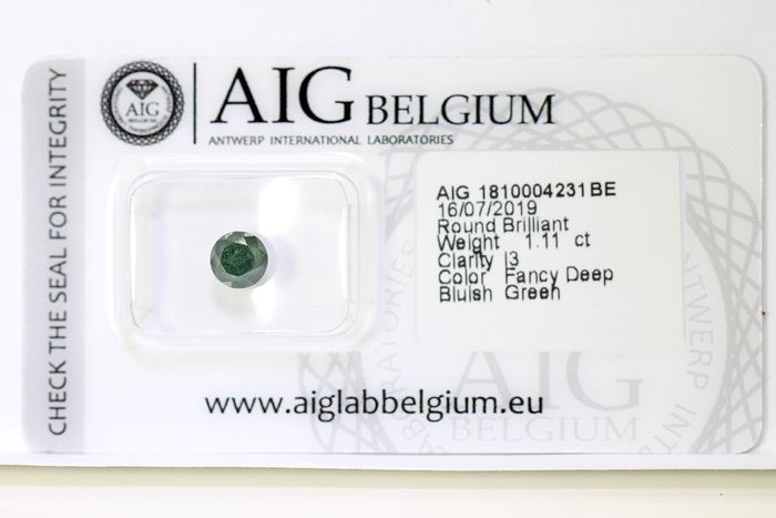 Diamant - 1.11 ct - Brillant - fancy deep bluish green - ( Treated Color ) - * NO RESERVE PRICE *