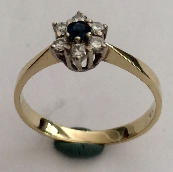 ANJER - 14 kt. White gold, Yellow gold - Ring - 0.07 ct Sapphire - Diamonds