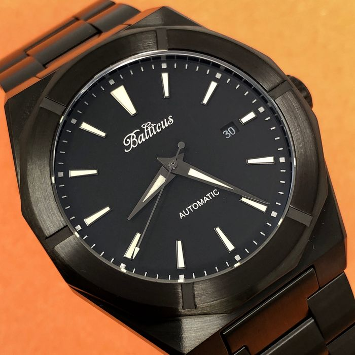 Balticus - Automatic Black Dust Matte Black PVD Stainless Steel with Date - Black Dust Matte - Men - Brand New