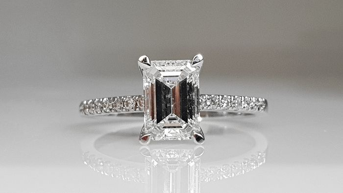 14 kt. White gold - Ring - Clarity enhanced 1.17 ct Diamond