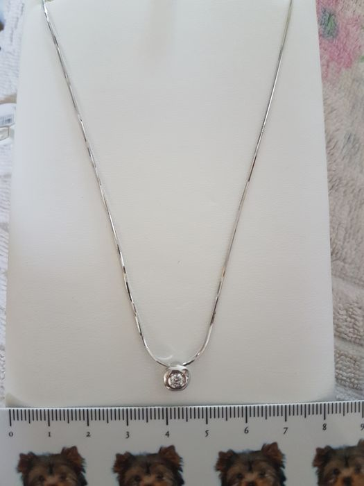 re carlo - 18 kt. White gold - Necklace - 0.13 ct Diamond