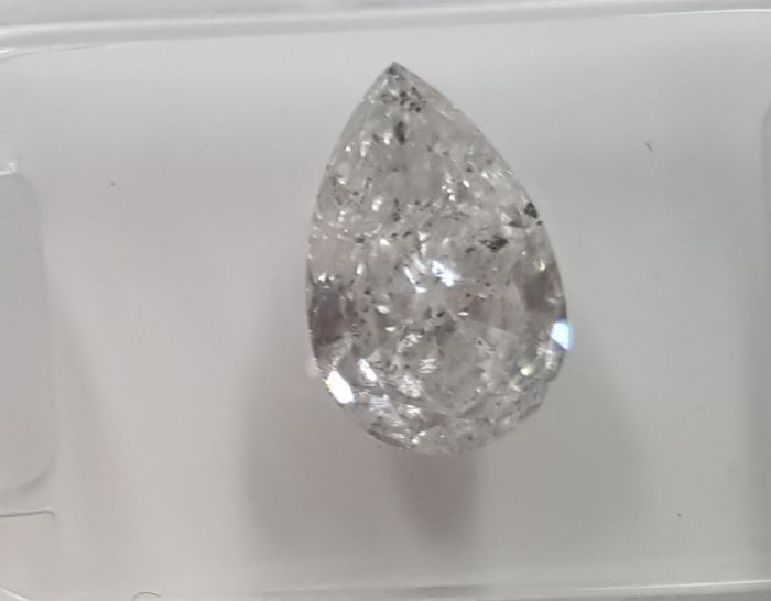 1 pcs Diamante - 1.54 ct - Pera - D (incolor) - I1