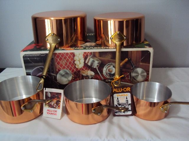 New Tournus France in are cardboard 5 tinned pans - Brass, Copper